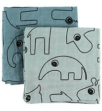 Done By Deer Muslin Cloth - 2-Pack - Blue w. Elphee