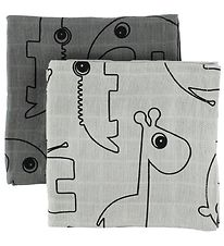 Done By Deer Muslin Cloth - 2-Pack - Grey w. Elphee