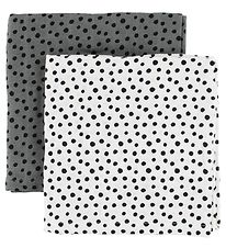 Done By Deer Muslin Cloth - 2-Pack - Grey/White w. Dots