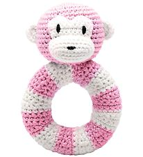 NatureZoo Rattle - Round - Lady Ape - Pink