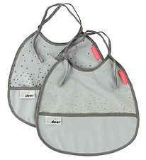 Done By Deer Bibs - 2-Pack - Light Grey w. Dots