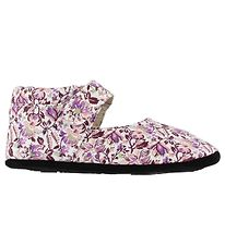 Fuzzies Ballerina Slippers - Viola - White w. Flowers