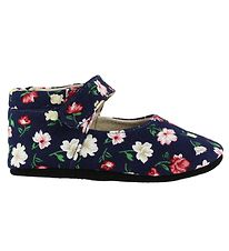 Fuzzies Ballerina Slippers - Flora - Navy w. Flowers