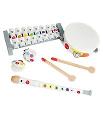 Janod Music Instrument Set - White w. Rainbow Dots