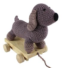 Smallstuff Pull Along Toy - Dog - Dusty Purple