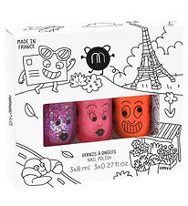 Nailmatic Nail Polish - 3-Pack - Raspberry Glitter/Orange/Pink G