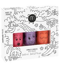 Nailmatic Nail Polish - 3-Pack - Purple Glitter/Pink Glitter/Ora