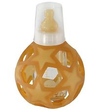 Hevea Feeding Bottle w. Star Ball - Glass & Rubber - White