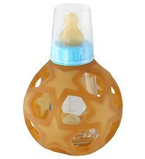 Hevea Feeding Bottle w. Star Ball - Glass & Rubber - Light Blue