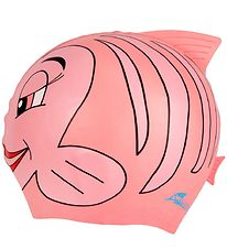 SwimFin Swim Cap - Silicone - Pink w. Fish