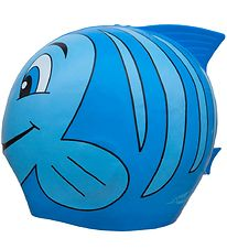 SwimFin Swim Cap - Silicone - Blue w. Fish