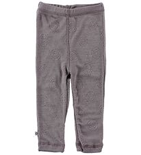 Smallstuff Leggings - Wool - Lavender w. Pointelle
