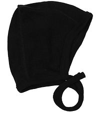 Smallstuff Baby Hat - Wool - Black w. Rib