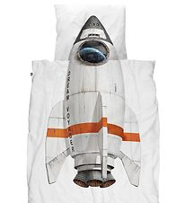 Snurk Duvet Cover - Adult - White w. Rocket