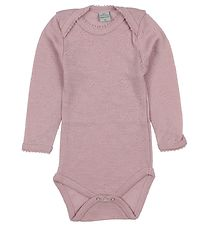 Smallstuff Bodysuit l/s - Wool - Rose w. Pointelle