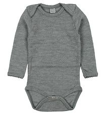 Smallstuff Bodysuit L/S - Wool - Grey Melange w. Pointelle