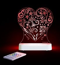 Aloka Night Lamp - Sleepy Lights - 14x14 - Heart w. Flowers