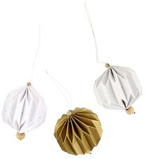 Fabelab Clip Toy - Pleated - 3 pcs - White/Gold/Light Grey w. Do