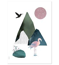 I Love My Type Poster - A3 - Mountain Life - Flamingo