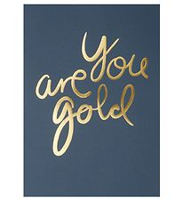 I Love My Type Poster - A4 - You Are Gold - Navy w. Gold Text
