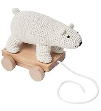 Sebra Pull Along Toy - Crochet - Polar Bear
