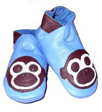 CeLaVi Soft Sole Leather Shoes - Blue w. Monkey