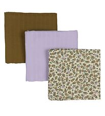 by KlipKlap Muslin Cloth - 3-pack - 70x60 - Flower Lilac/Lilac