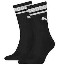 Puma Socks - Regular Crew - 2-pack - Black w. White Stripes