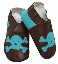 CeLaVi Soft Sole Leather Shoes - Brown w. Turquoise Skull