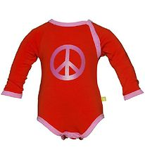 Mala Bodysuit - L/S - Red w. Pink Peace