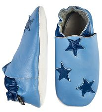 CeLaVi Soft Sole Leather Shoes - Light Blue w. Stars