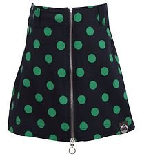 Danefæ Skirt - Black w. Green Dots