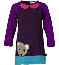 Lego Wear Dress - Knitted - Aubergine w. Bear