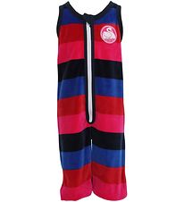 Danefæ Velvet Jumpsuit - Red/Navy/Blue Striped