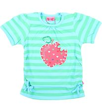 Me Too T-shirt - Green/Turquoise Striped w. Apple