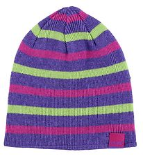 CeLaVi Hat - Knitted - Reversible - Wool/Cotton - Purple/Striped
