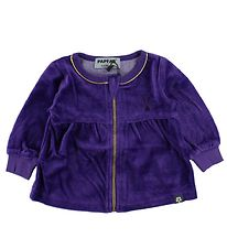 Papfar Zip Cardigan - Velvet - Purple w. Gold