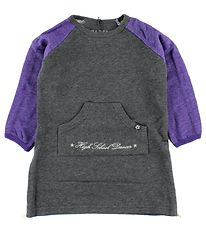 Papfar Sweat Dress - Grey Melange w. Purple/Gold