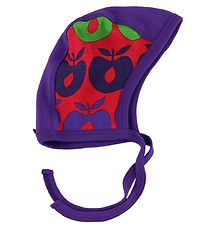 Småfolk Baby Hat - Red/Purple w. Multi Apples