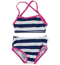 Katvig Classic Bikini - UV50+ - Navy/White Striped w. Pink Edge