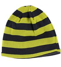 Mikk-Line Hat - Wool/Cotton - Grey/Lime Striped
