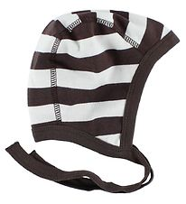 Katvig Classic Baby Hat - White/Brown Striped