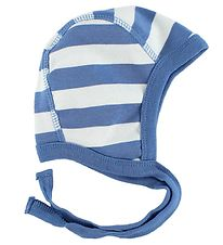 Katvig Classic Baby Hat - White/Light Blue Striped