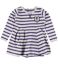 Papfar Dress - Ivory/Purple Striped