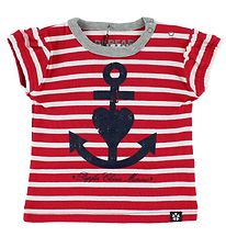 Papfar T-shirt - Red/White Striped w. Anchor