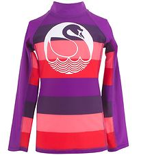Danefæ Swim Top L/S - UV50 - Purple/Pink w. Swan
