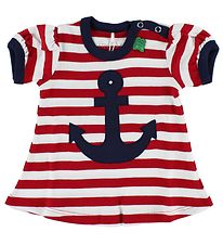 Freds World Dress - Red/White Striped w. Anchor