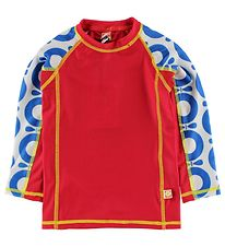 Katvig Classic Swim Top L/S - UV50+ - Red w. Blue Apples