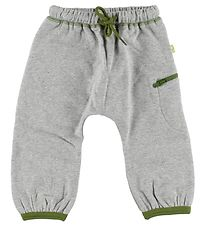 Katvig Sweatpants - Grey Melange w. Green
