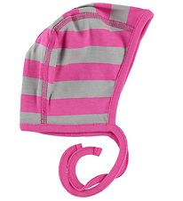 Katvig Baby Hat - Pink/Grey Striped